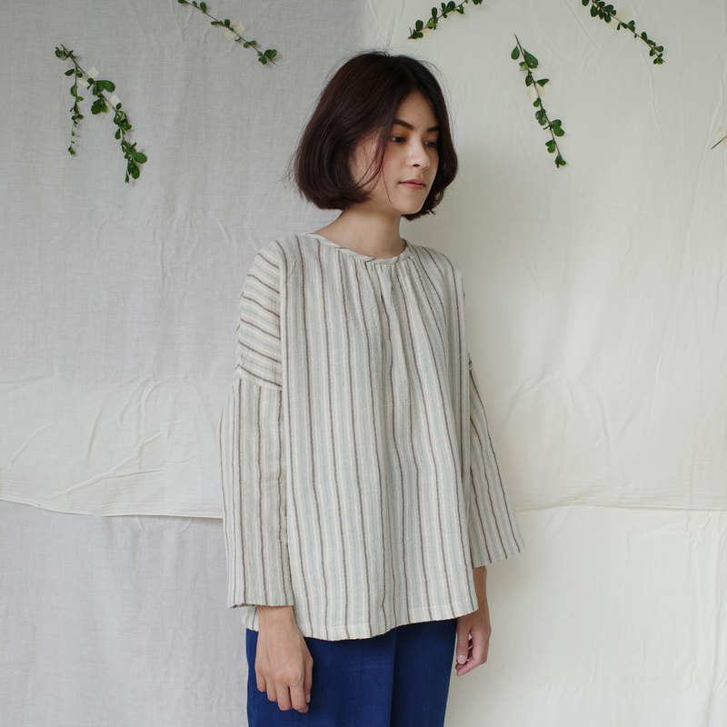 Stipe blouse / pastel / cotton x linen