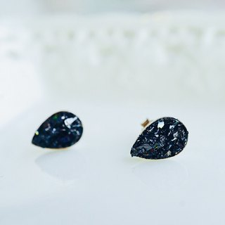 Crushed Hematite Pear Shape 925 Silver Earrings