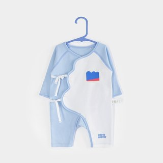 Xie Jin newborn baby cotton lace jumpsuit climbing clothes 0-6 Month - blue chrysanthemum