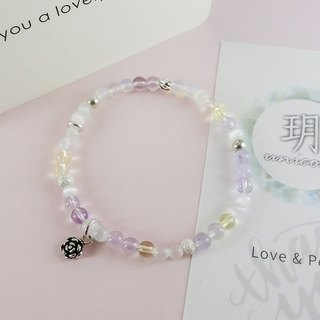 Champagne Bubble Silver Bracelet │ Handmade Natural Stone Beaded Powder Purple Gift Christmas Friends girlfriends