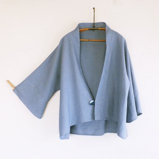 French linen ジャケット Antique blue