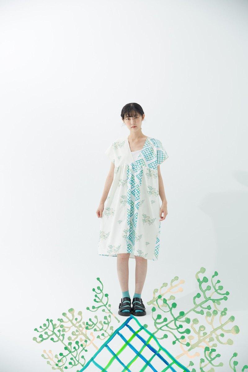 y1,hsuan X 紅林 獨家印花布系列  拼接v領長罩衫tree+window