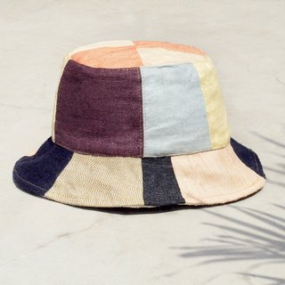 Tanabata gift limited to a land forest wind splicing hand-woven cotton hat / fisherman hat / sun hat / patch cap / hand cap - Bohemian splicing handmade cap