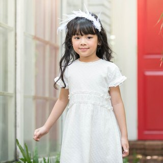 Girls Dotted Cotton Jacquard Dress