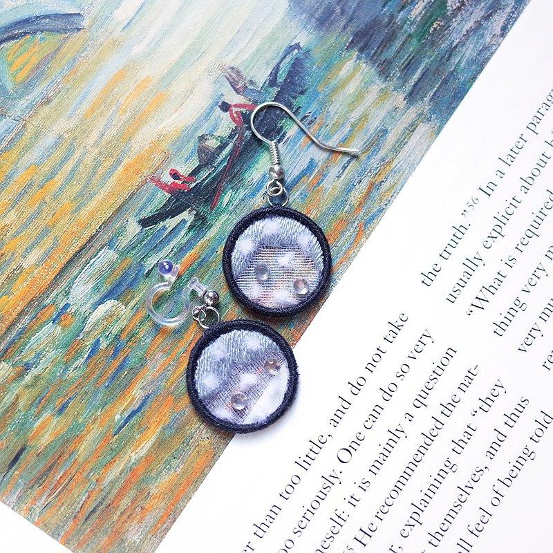 佩戴風景#16 下雪 刺繡 耳環 耳夾 耳針