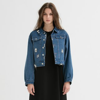 VACAE Bubble Cuff Denim Jacket