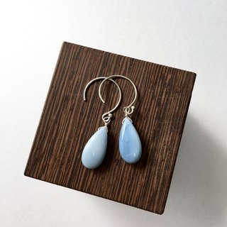 Blue Opal Hook-earring 14 kgf, SV 925