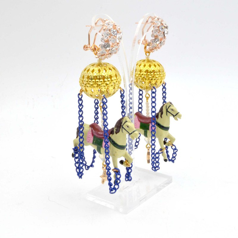 TIMBEE LO colorful activity chain retro merry-go-round earrings ultralight circus crystal jewelry style