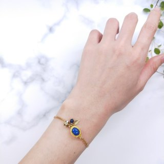 wristband. Lapis Lazard * Leaf Zircon Brass Double Bracelet