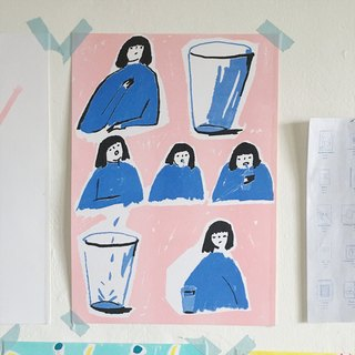 """A cup of saliva"" A4 3 colours Risograph print"