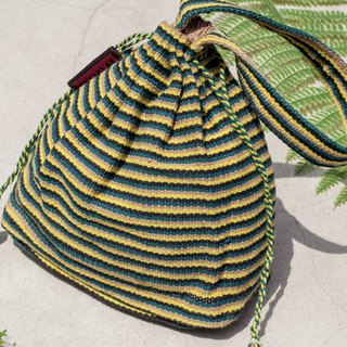 Valentine's Day Gifts Birthday Gifts Chinese Valentine's Day gifts Limited edition hand-knitted storage bag / ethnic style bag / striped bag / cosmetic bag / mobile phone bag / clutch bag / bag-walking in the green yellow world