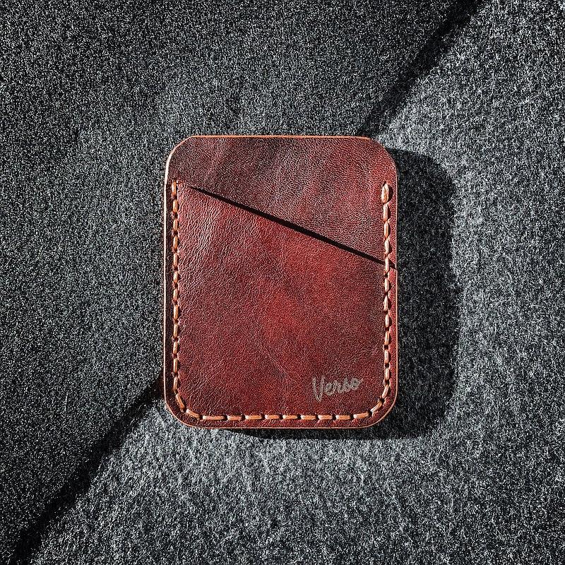 Handmade Minimalist Leather Wallet / Leather Card holder / Cognac leather
