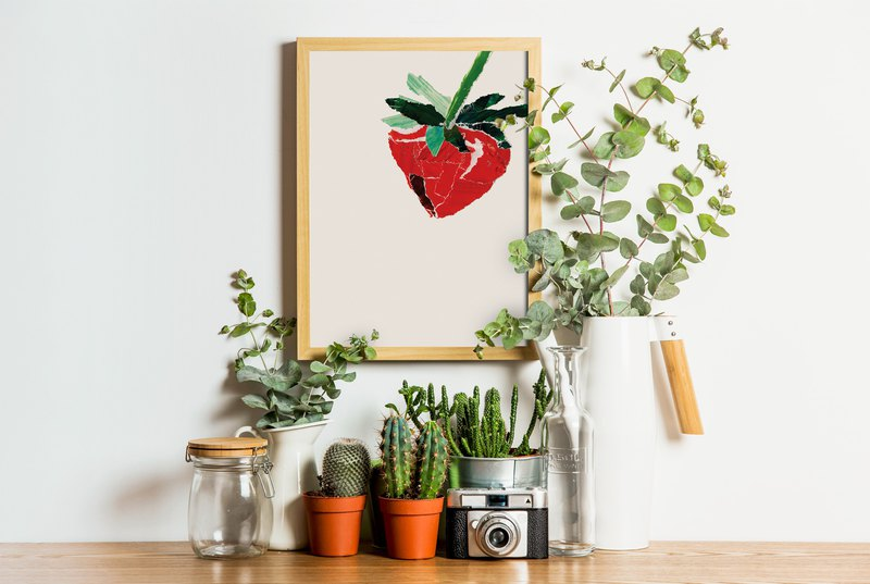 Strawberry. Everyday Posters / Personal Collages / Digital Printing / Kids Hearts / Fruit Series