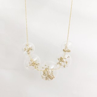 Baby Breath Golden Dry Flower Necklace Glass Ball Birthday Gift Wedding Bridesmaid