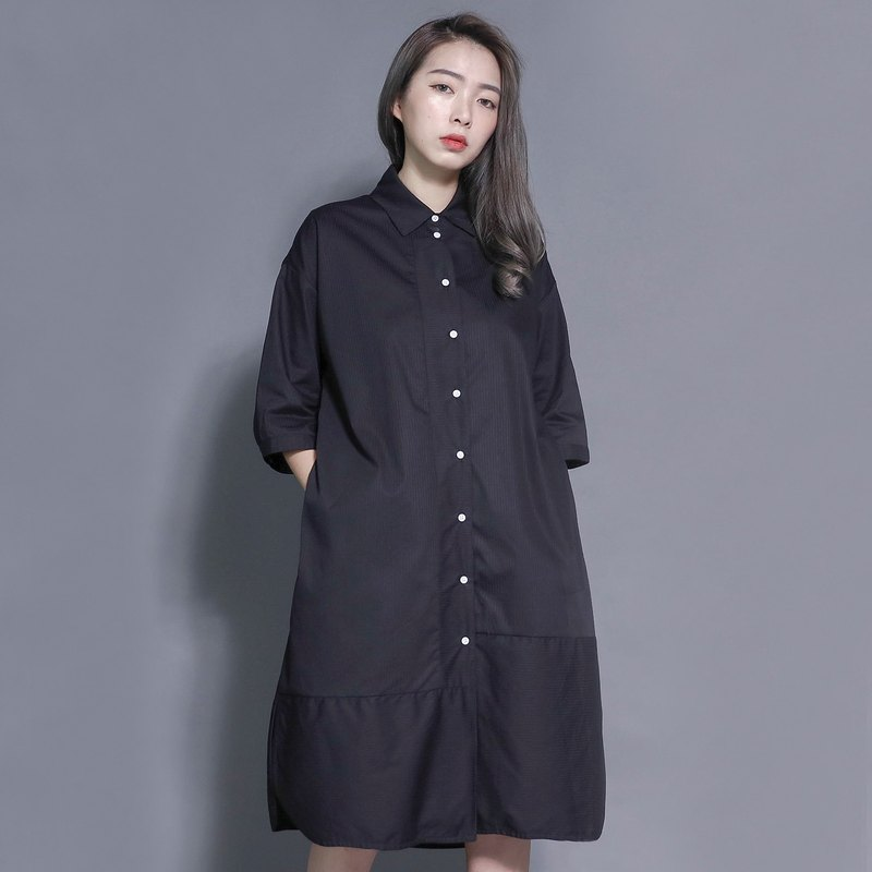SU: MI said Evolution Evolution Splicing Shirt Dress _7SF024_ Black Stripes