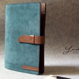Show stitch color with A5 size blue blue suede + dark wood color leather