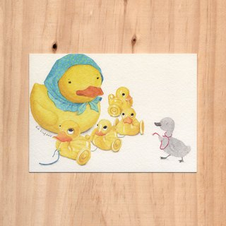 """Hong Kong Toy x Fairy Tales - Duck Duck x Ugly Duckling"" Watercolor illustration postcard"