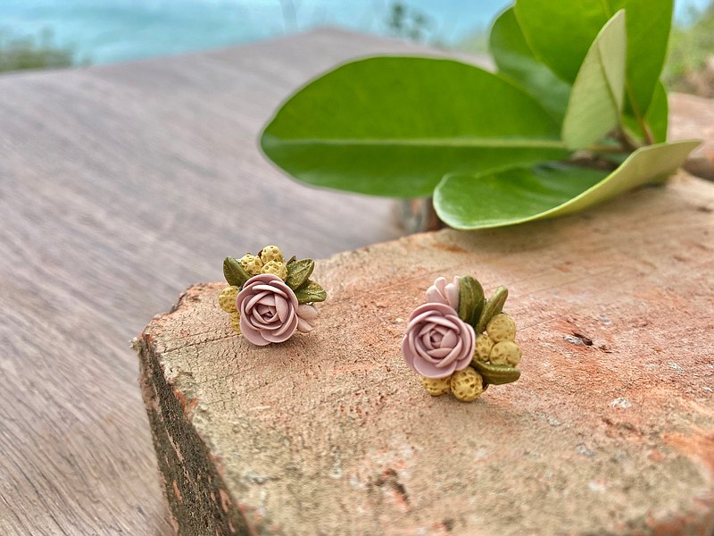 Dry Rose Rose Flower Yellow Fruit Handmade Jewelry Earrings