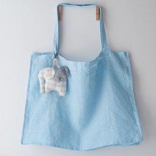 Blue Linen Bag - Super Large Linen Tote in Baby Blue + Linen Elephant Keychain