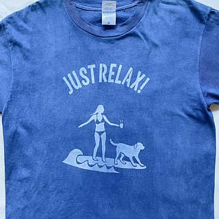 Indigo dyed 藍染 - JUST RELAX TEE M size