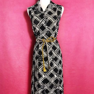 Vintage flower plaid sleeveless vintage dress / abroad brought back VINTAGE