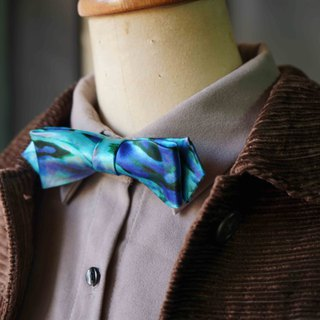 Papa's Bow Tie- antique handmade cloth flowers tie tie restructuring - such as sea spring - Blue - narrow version