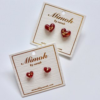Red Roses Petals Earrings with Gold Leaf
