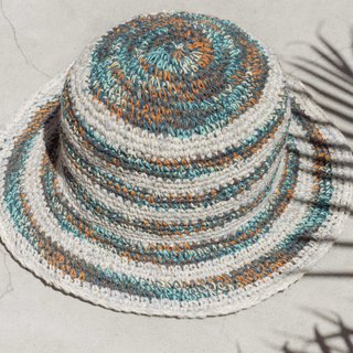 Hand-knitted cotton and linen cap knit hat fisherman hat visor straw hat - South American highway blue stars sense