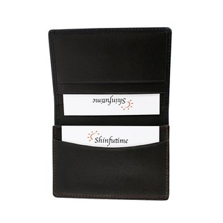 LAPELI │ spell color cow leather business card holder black - black coffee