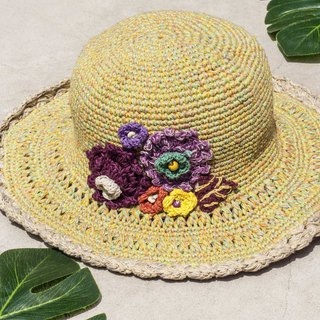 Hand-knitted cotton and linen cap knit hat fisherman hat sun hat straw hat - weaving flowers purple forest