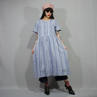 (Free shipping) (Vintage dress) Blue White Summer Plaid Waistband Tie Two-pocket Japanese vintage dress (Wedding/Birthday gift) F3212