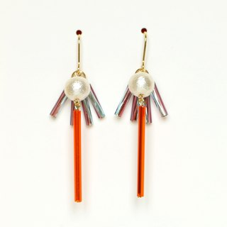 sun beam - orange bead earrings / earrings