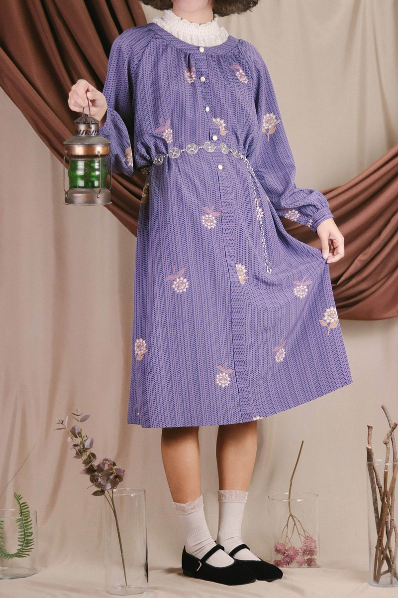 Vintage dress B12 purple print long-sleeved one-piece dress【Tsubasa.Y古着屋】