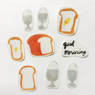 Good morning! Toast and egg cups Transparent stickers Food hand scissors Handwritten English word One pack 9 in