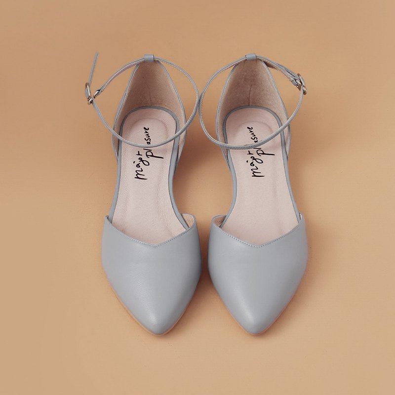 Elegant everyday shoes! inverted V-slim thin ankle straps shoes light gray full leather