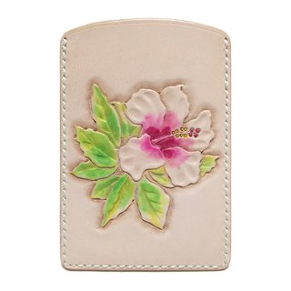 Marie / Mary genuine leather leather pass case / flower / hibiscus / regular entry / hand dyed / carving