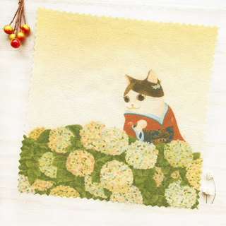 Cat Ukiyo-painting - Hydrangea / Universal Wipe / Glasses Cloth