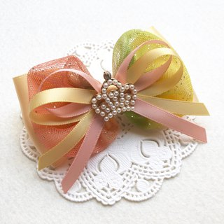 Pearl Crown Round Yarn Bow Hair Clip / Yellow