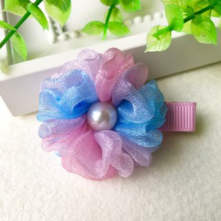 Symphony pearl yarn small flower bangs hairpin / pink blue