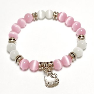 Pink KITTY custom bracelet opal white cat eyes pink cat eye ore attracts good luck
