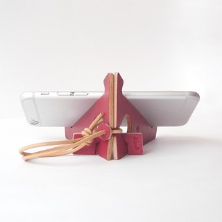 Suwa dyed leather folding smartphone stand 【zaza / Zaza】 # Plant dyed leather # Alphabet stamp to choose