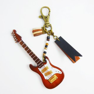 [Brown electric guitar] electric guitar texture mini model charm packaging accessories custom