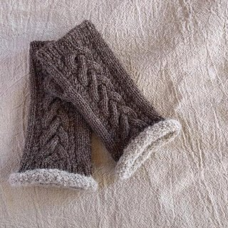 Alpaca wool knitted Alan pattern fingerless Mittens · Clove brown Made to order production