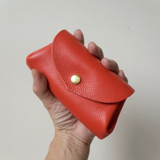 Leather Wallet Italian Natural Tanned Leather Mini Pouch Fave Orange