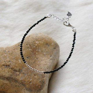 Black Spinel Silver 925 Bracelet with Linear Memory Alloy