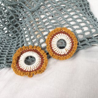 Browny crochet earring