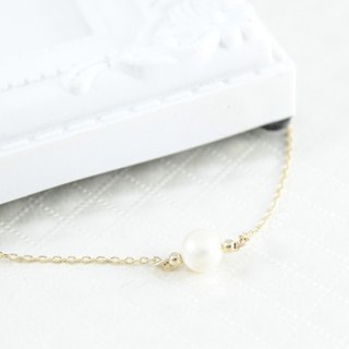 Daughter temperament pearl 14K gold necklace
