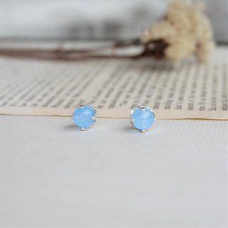 << Lucky Guardian Stone - Water Blue Agate Earrings Earrings >> Relaxing Guardian Stone