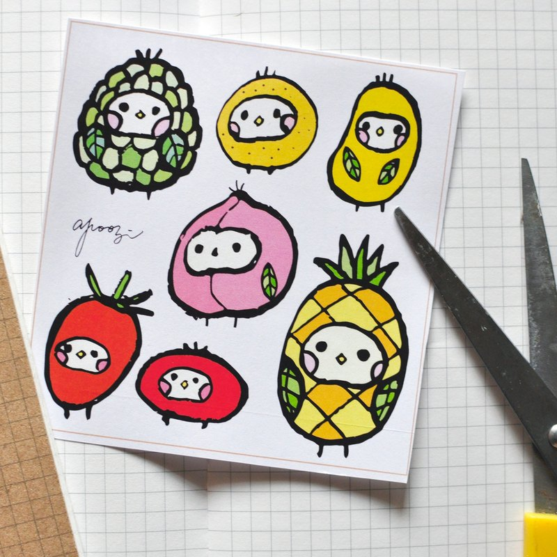 Cloth seed creature - fruit seed illustrator sticker