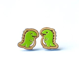 Painted  wood earrings-Tyrannosaurus rex (green)